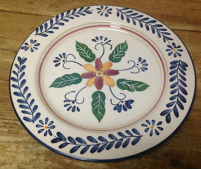 Talavera Tabletops Unlimited Pottery Handpainted Dinner Plate Blue Laurel Floral