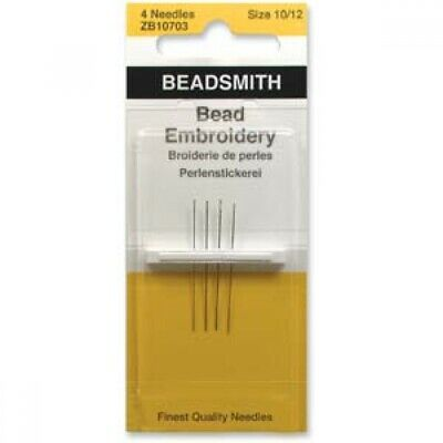 Four Assorted Sizes 10 & 12 Beadsmith/John James English Bead Embroidery Needles