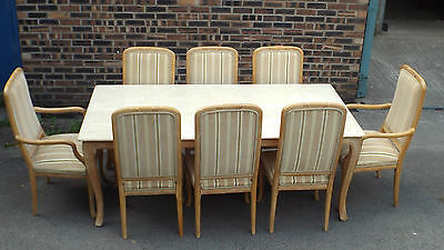 GOOD QUALITY LIMED OAK & MARBLE TOP DINING  TABLE & 8 MATCHING CHAIRS / V G COND