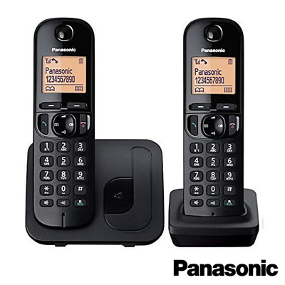 New Panasonic Twin Cordless Dect Phone With Call Block In Black Kx-Tgc212Eb