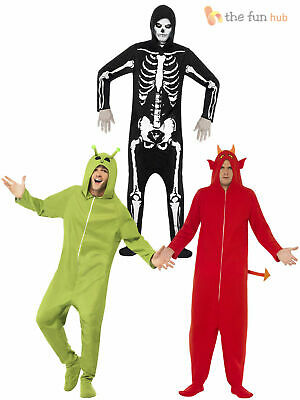 Adult Halloween All in One Hooded Costume Mens Unisex Jumpsuit Fancy Dress Outfi