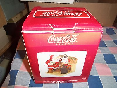 "ksm. Coca Cola Salt Pepper Shakers Santa Dog 5"" H at Bottle Gently Used to Unuse"