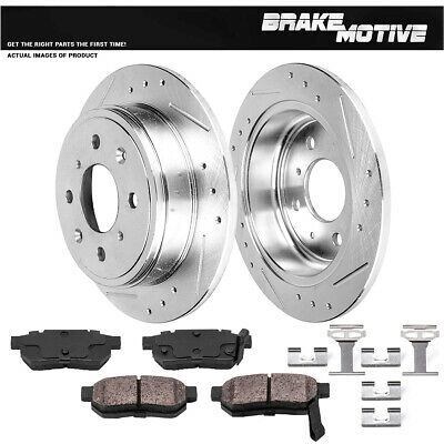 REAR DRILLED & SLOTTED BRAKE ROTORS AND CERAMIC PADS Integra Civivc CRX Prelude