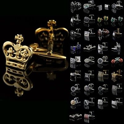 Lot Vintage Stainless Steel Golden Silver Crystal Mens Party Novelty Cufflinks