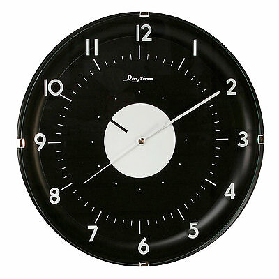 NEW Modern Black Round Wall Clock Silent No Ticking Home Office Kitchen Bedroom