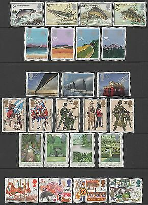 GB 1983 complete commemorative sets of stamps unmounted mint 7 sets