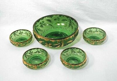 EAPG Early American Pattern Glass Delaware Berry Bowl Set 5pc. US Emerald Green