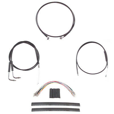 "Black Cable & Brake Line Cmpt Kit 16"" Apes 2011-2015 Harley Softail w/ABS"