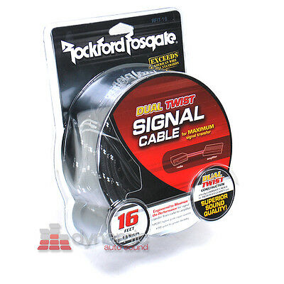 """Rockford Fosgate RFIT-16 16.4"""" 2-Channel Dual Twist RCA Interconnect Cable New"""