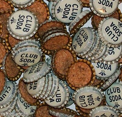 Soda pop bottle caps Lot of 25 CLUB SODA generic cork lined unused new old stock