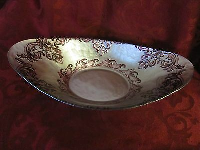 Arda Glassware purple silver oval decorative bowl vintage style hand painted nwt