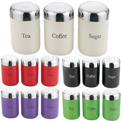 3Pc Canister Set Jar Lid Canisters Storage New Stainless Steel Coffee Tea Sugar