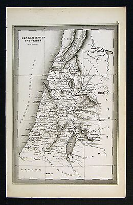 1850 Starling Map - Canaan 12 Tribes - Israel Jerusalem Old Testament Bible