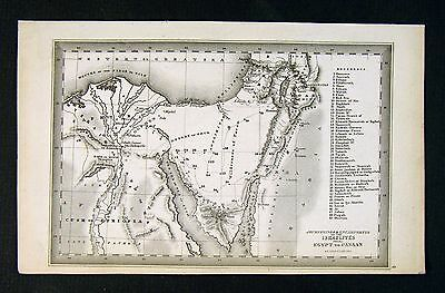 1850 Starling Map - Journey of Israelites Egypt to Canaan  Israel Bible Red Sea