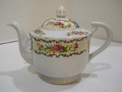 Vintage Porcelain Made in Japan Teapot w/ lid white flowers floral blue gold