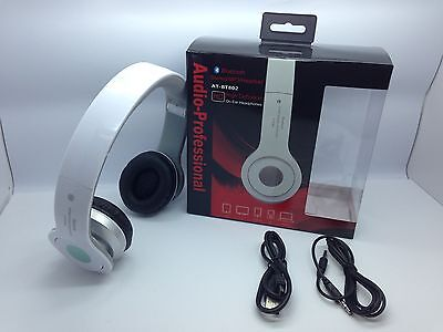 Lot Of 2 New Bluetooth Stereo Headset At-Bt802 Over The Head Universal White