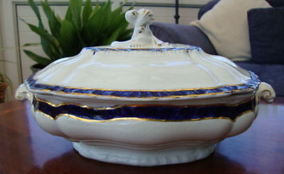 ANTIQUE LARGE  WHITE, BLUE & GILT BOOTHS SERVING TUREEN WITH LID COVER 5067