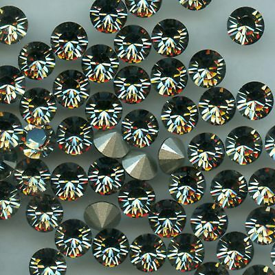 1028 SS34 BD *** 12 Strass Swarovski  fond conique 7,2mm BLACK DIAMOND F