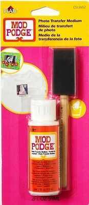 MOD PODGE PHOTO TRANSFER MEDIUM 2oz BOTTLE & BRUSH DECOUPAGE WOOD FABRIC CANVAS