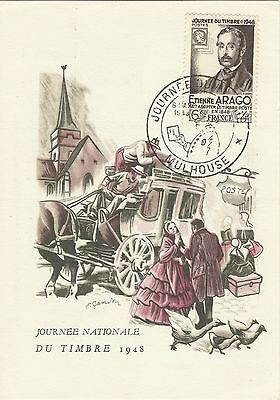 France Stamp Day Horse Drawn Carriage Mail Coach Writter Arago 1948 Maximaphily