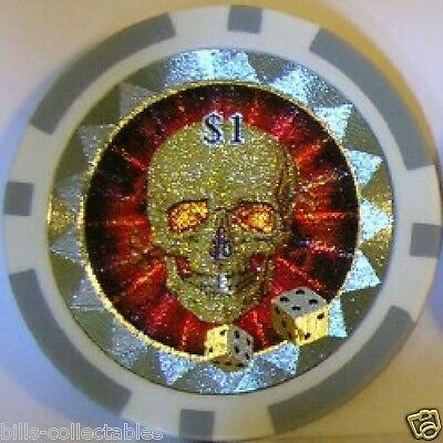 5 pc 5 colors 11.5 gm Hologram Skull and Dice poker chip samples #67