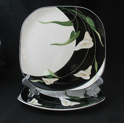 TWO SANGO BLACK LILIES DINNER PLATES