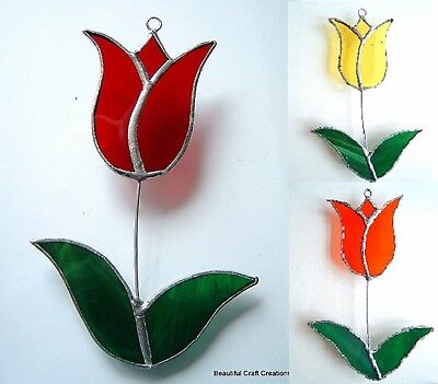 Garden Tulip stained glass suncatcher collectable window decoration flowers gift