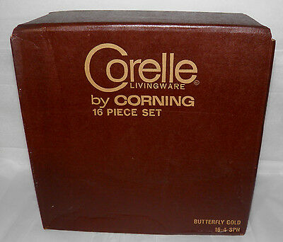 Vintage CORELLE LIVING WARE by Corning BUTTERFLY GOLD 16 Piece Set MIB Sealed