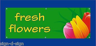 FRESH FLOWERS PVC BANNER  stall, shop, farmers market indoor/outdoor 1100