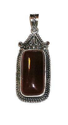 PENDANT/NECKLACE Ornate Antiqued Silverplate Bezel DARK ORANGE-RED  AGATE P238
