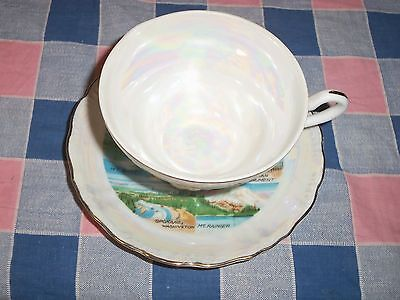 b. Vintage Souvenir Cup & Saucer Washington State  Many Small Scenes
