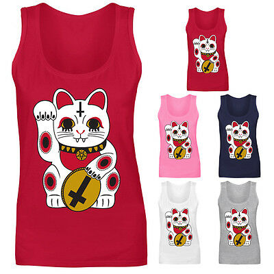 Womens Lucky Cat Chinese Tattoo Gothic Style Vest Tank Top NEW UK 8-18