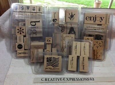Stampin ' Up Lot Of 10 Sets Of Wood Mounted Rubber Stamps G/U ExCondition