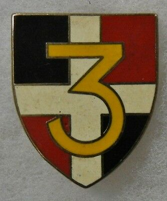 ORIGINAL Vintage FRENCH ARMY 3rd DISTINCTIVE UNIT INSIGNIA BADGE