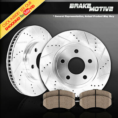 [FRONT] PERFORMANCE DRILLED AND SLOTTED BRAKE ROTORS & CERAMIC PADS ACURA HONDA