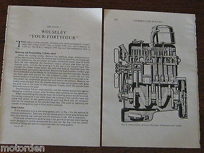 WOLSELEY FOUR-FORTYFOUR 12pp period 4/44 service+wiring diagrams 1950s FREE POST