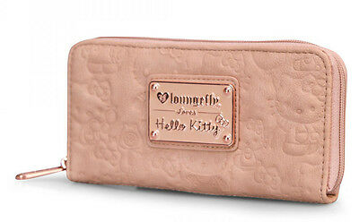 * New LOUNGEFLY HELLO KITTY Face Embossed ZIP WALLET Blush Pink Gold SANRIO Rose