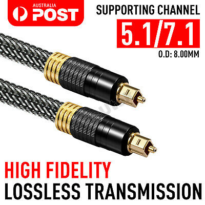 New Ultra Premium Toslink Optical Fibre Cable Gold Plated 5.1 7.1 Digital Audio