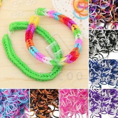 190x 4 Sections Loom Rubber Bands Refill+15x S Clips+1x Loom Tool Jewelry Making