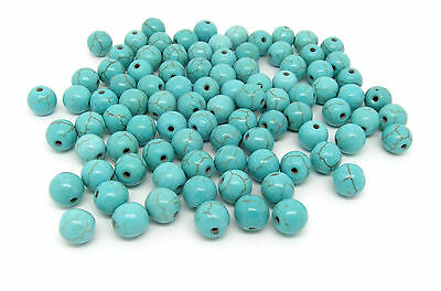 50 Turquoise Beads 8mm Reconstituted Dyed & Stabilised Turquoise 1mm Hole J00701