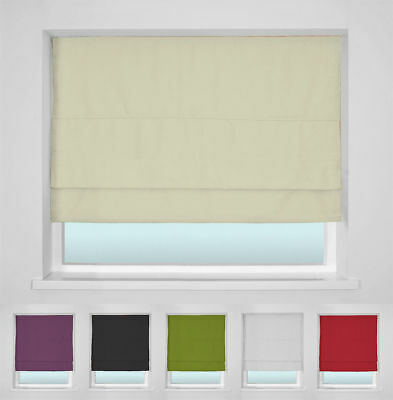 Trimmable Blackout Roman Blind - Complete Set - Many Sizes And Colours Available
