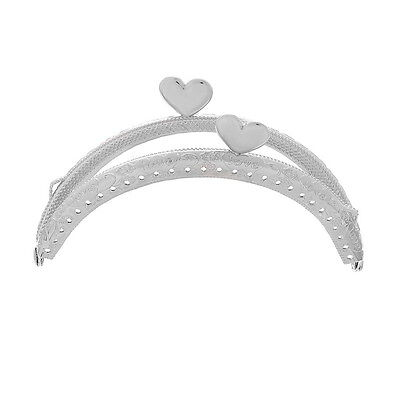 1PC Metal Frame Kiss Clasp Arch For Purse Silver Tone Heart Pattern