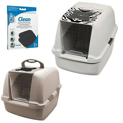 Catit Jumbo Hooded Cat Pan Warm Gray or Tiger White optional Replacement Carbons