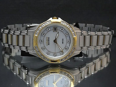 Citizen EW2134-50A Eco-Drive Two Tone Diamond Date Women's Watch $475