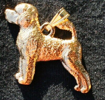 PORTUGUESE WATER DOG 24K Gold Plated Pewter Pendant Jewelry USA Made