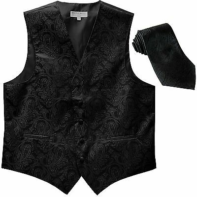 New Men's Formal Vest Tuxedo Waistcoat_necktie paisley pattern wedding black
