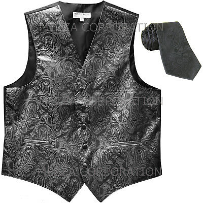 New Men's Formal Vest Tuxedo Waistcoat_necktie paisley pattern prom dark gray