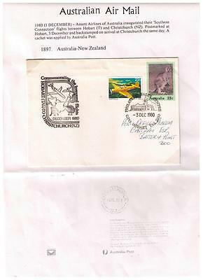 1980 Ansett Airlines Australia to New Zealand Inaugural First Flight Cover