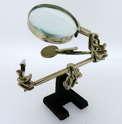 Helping Hand Magnifier Crocodile Clips Metal Arms 60 mm Magnifying Lens