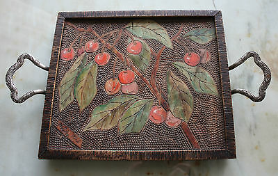 Antique hand carved tray cherries hand painted with silver handles signed 1913